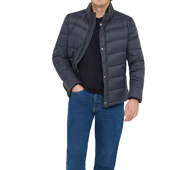 Quilted fabric down jacket