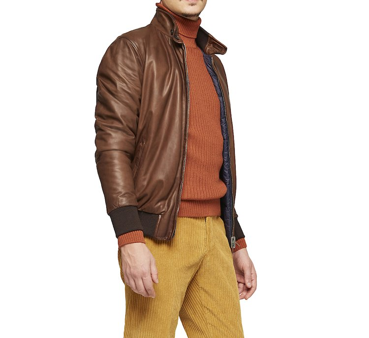Soft leather padded bomber
