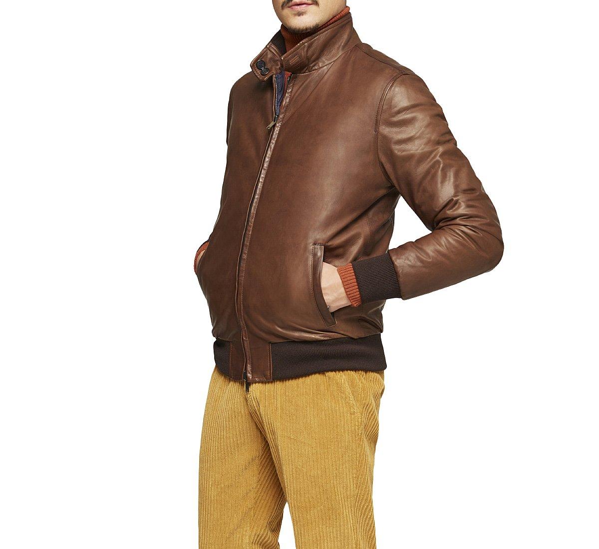 Стеганая куртка-бомбер из мягкой кожи