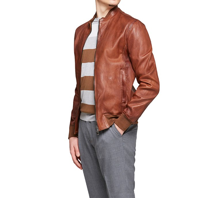 Jacket in fine leather