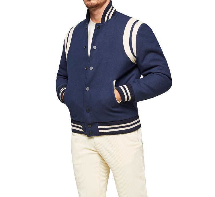 Bomber jacket with elastic collar