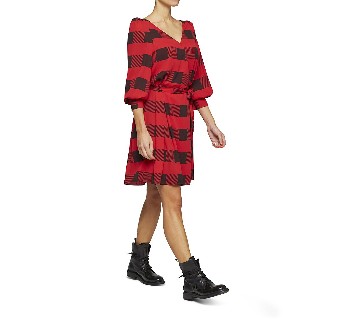Check fabric dress