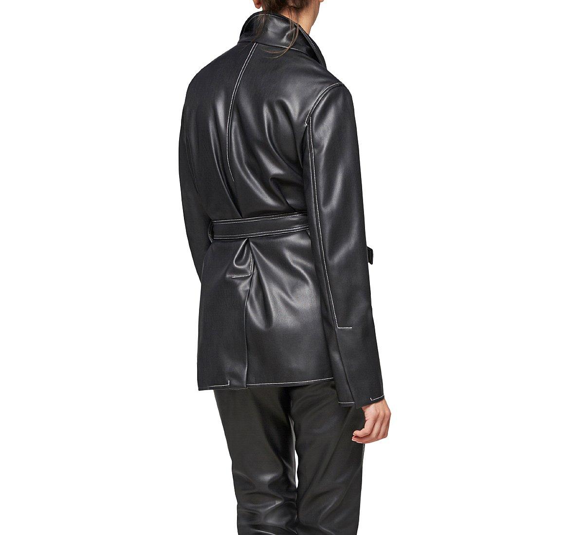 Faux leather robe jacket