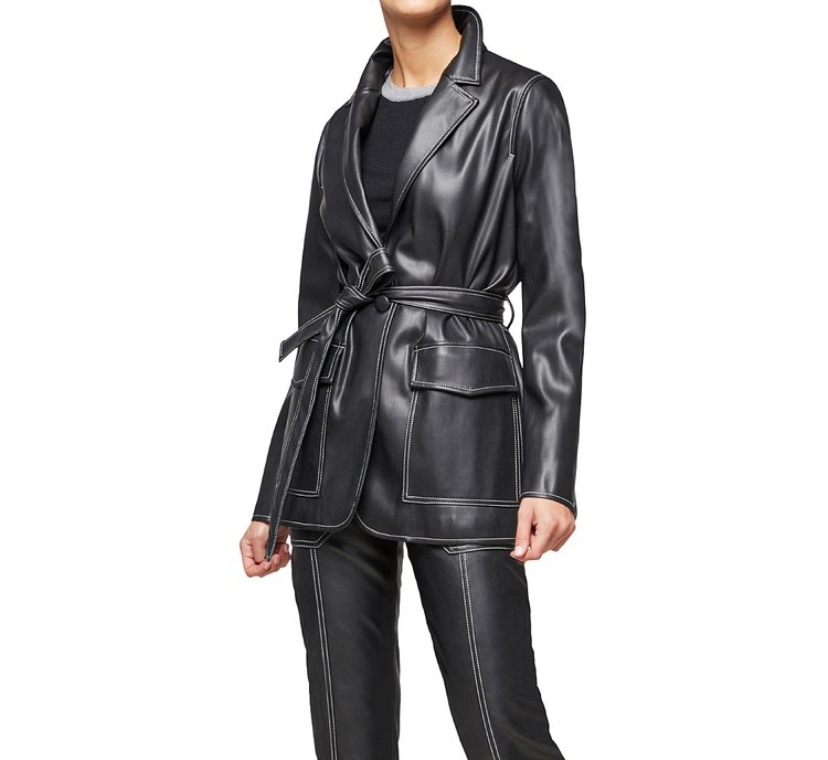 Faux leather robe jacket