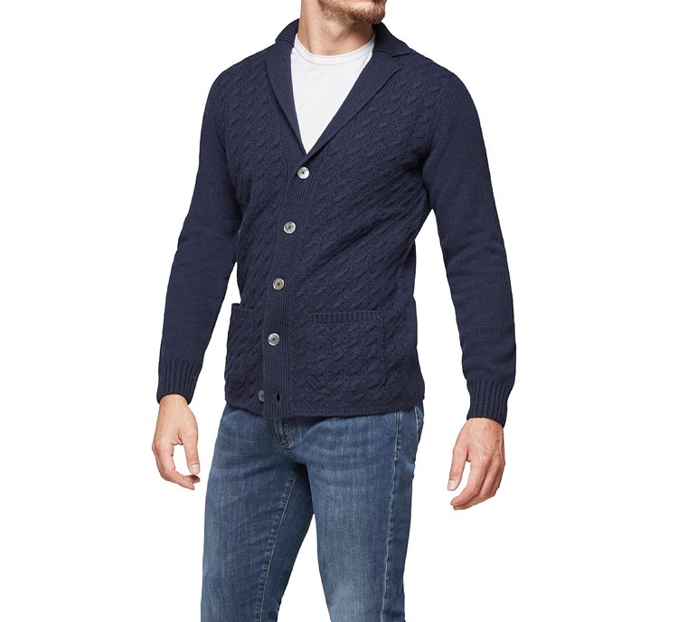 Cardigan with revere collar