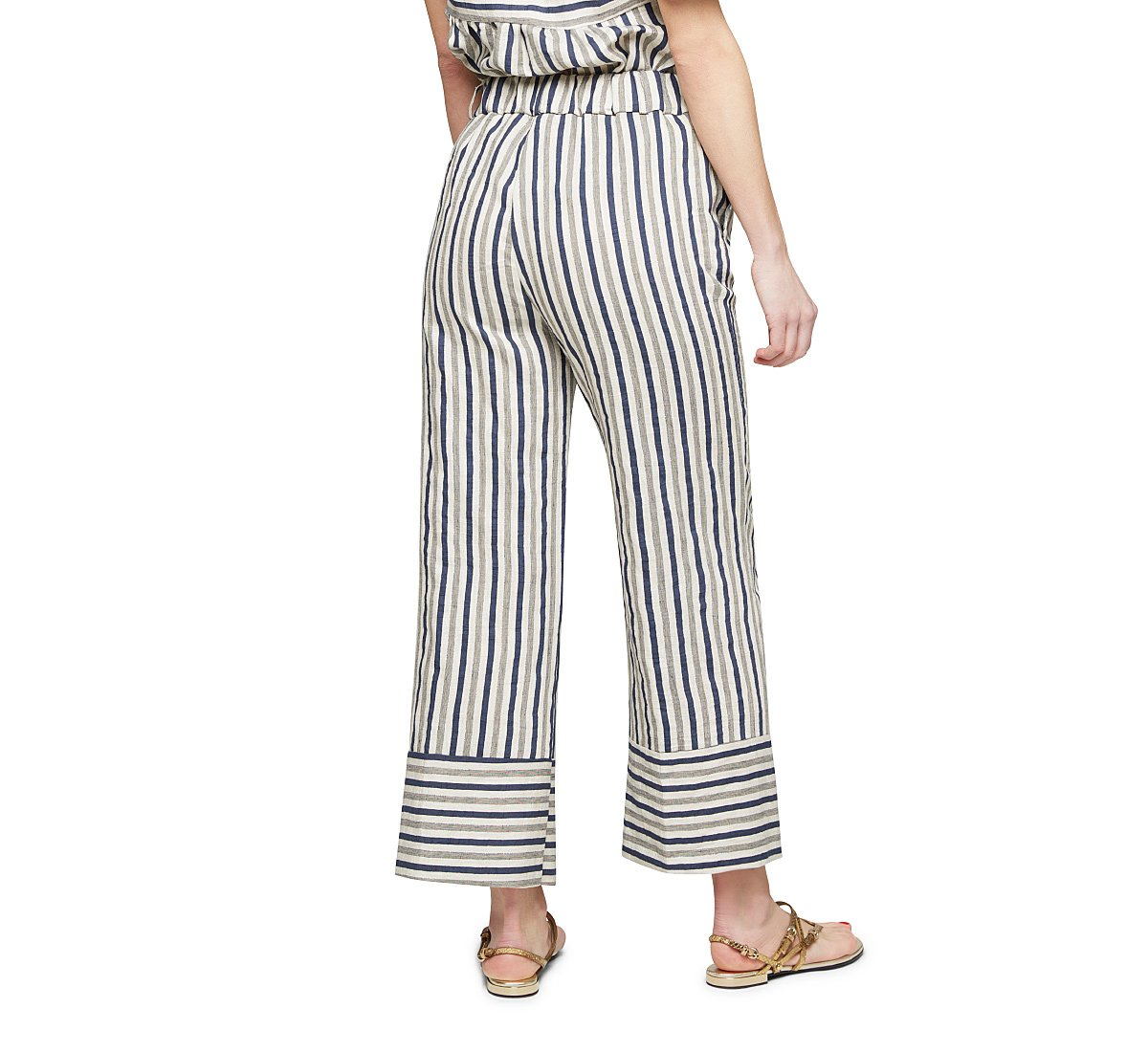 High-waisted trousers with nautical style