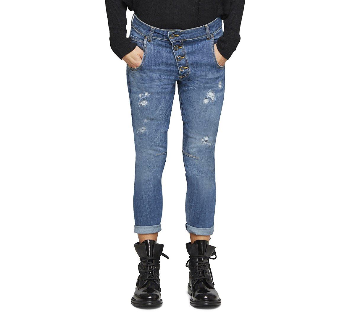 Jeans effetto slavato in cotone