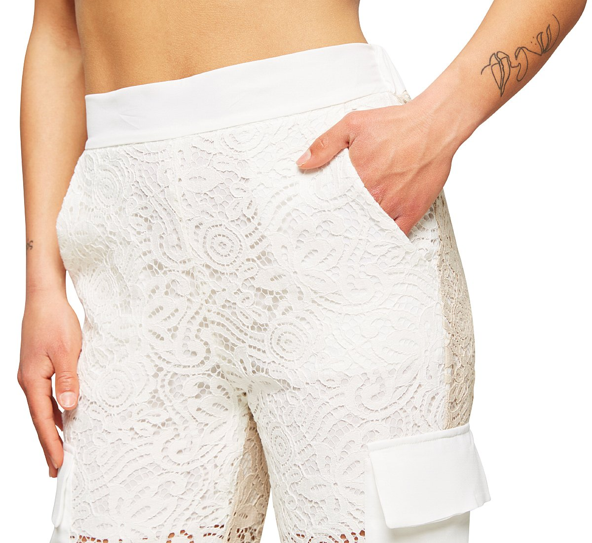 Semi-transparent lace trousers