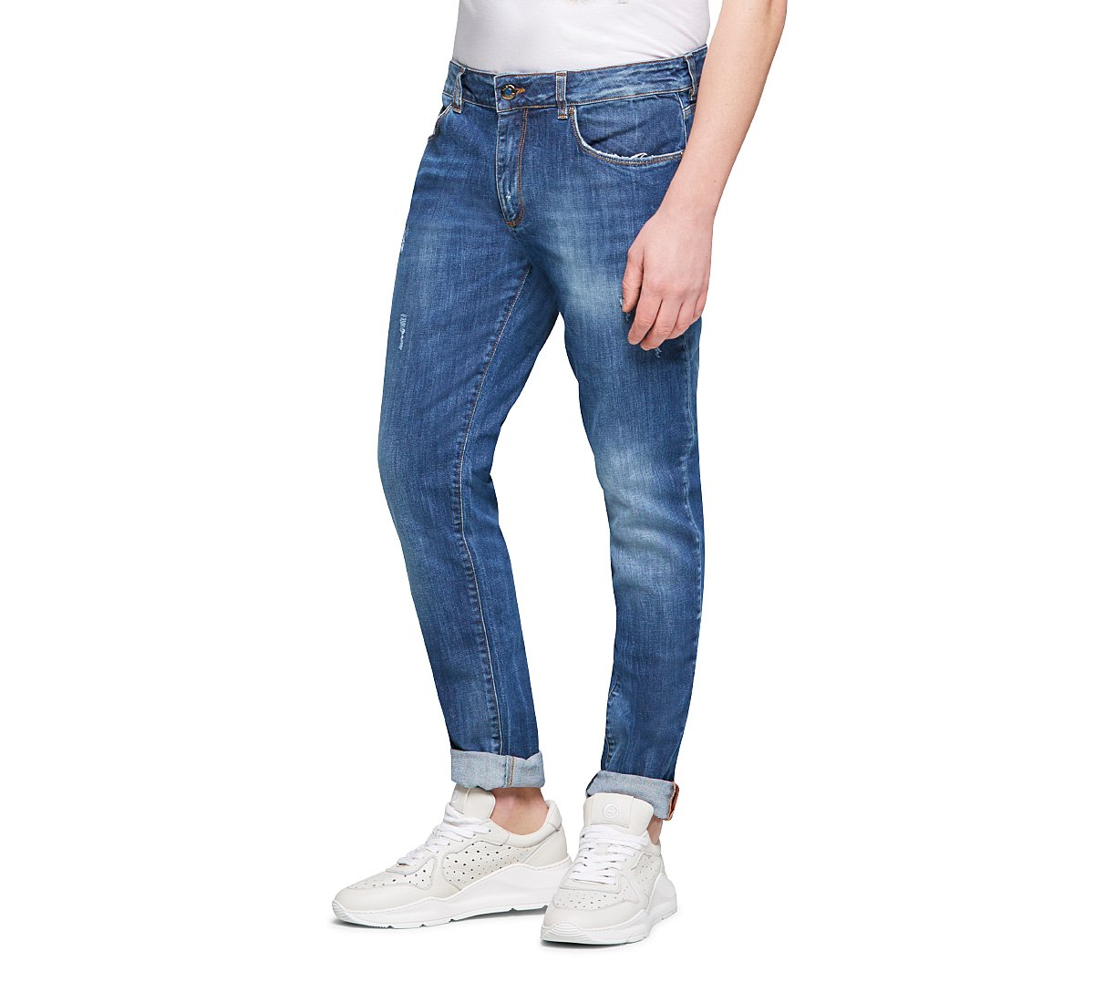 Faded-effect jeans