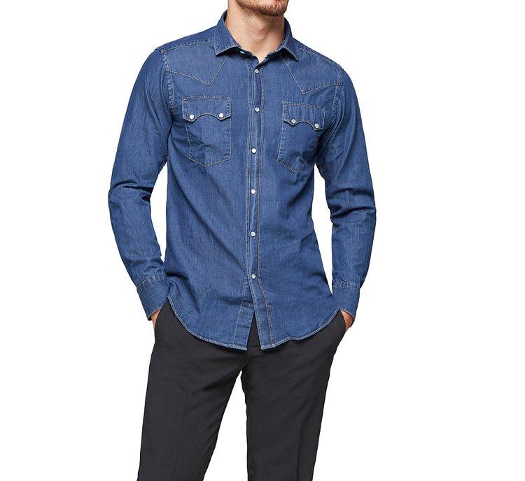 Western-style denim shirt