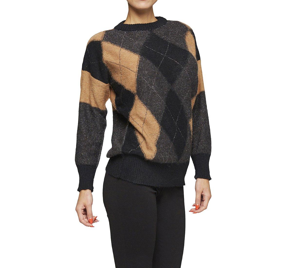 Пуловер с рисунком и ткани и шерсти