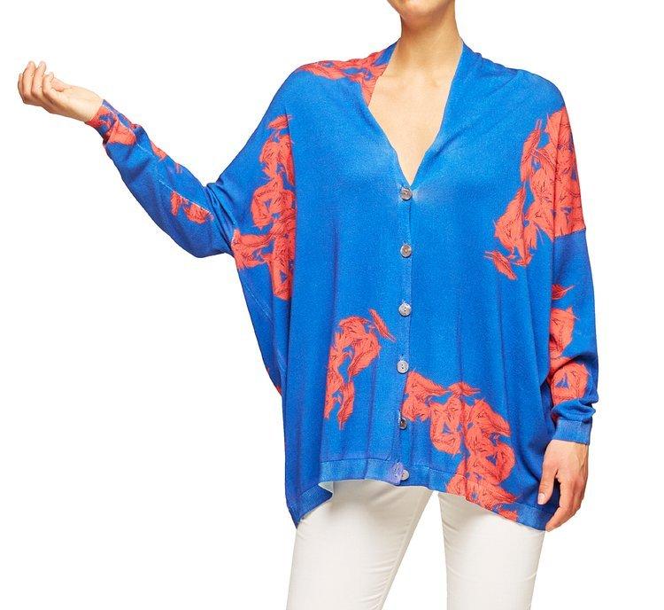 Extra-large cotton and viscose cardigan