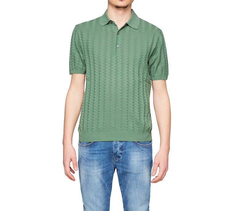 Трикотажная футболка-поло с ребристой отделкой