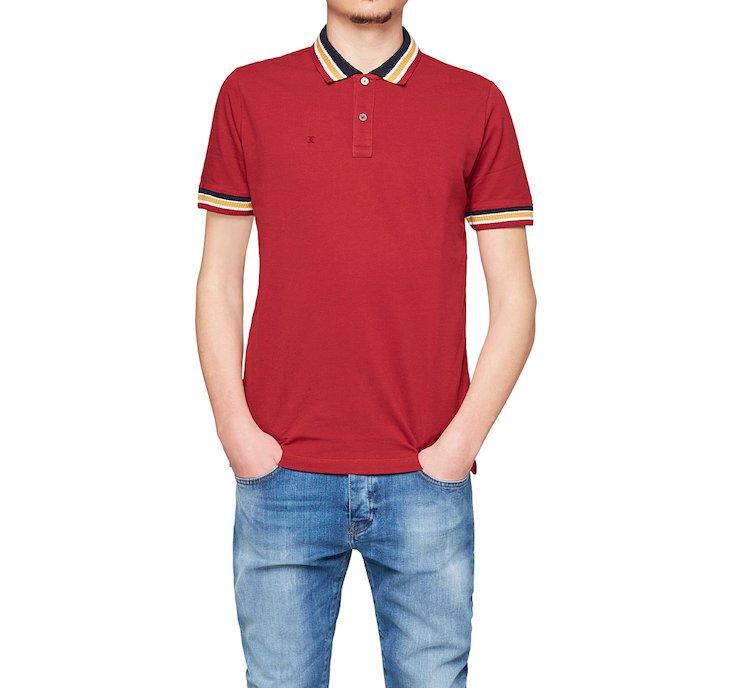 Трикотажная футболка-поло с полосатой отделкой