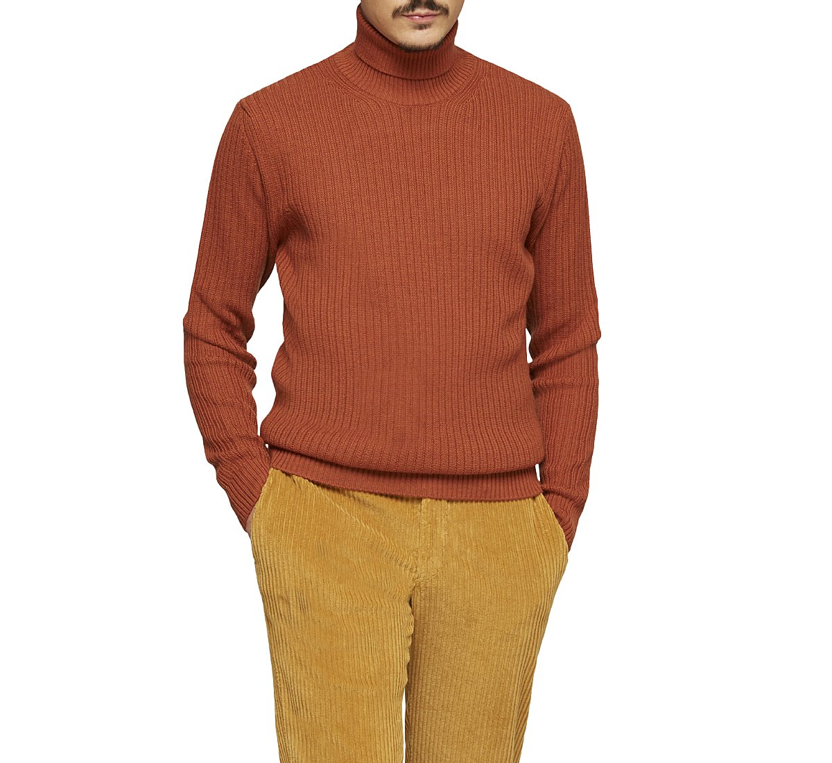 Ribbed warm wool pullover