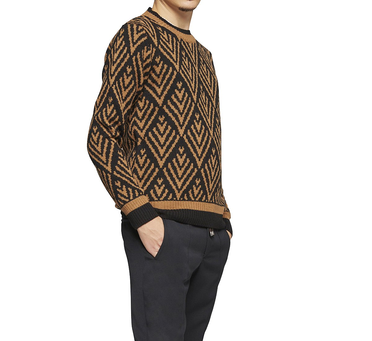 Two-tone ethnic style pullover