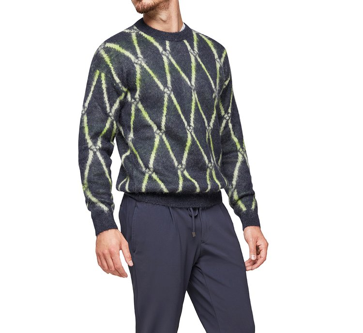 Patterned pullover with round neck