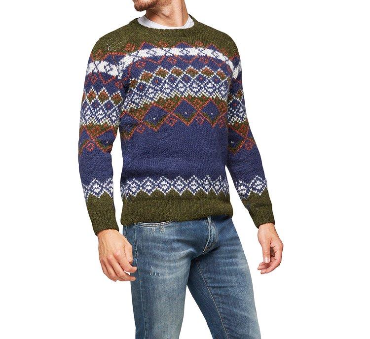 Sweater with diamond motif