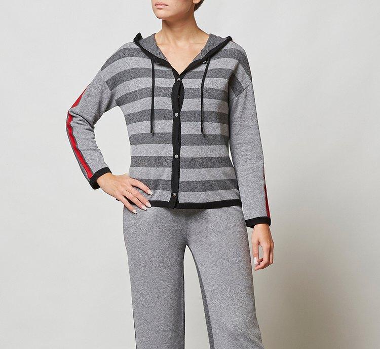 Hooded warm wool sweater