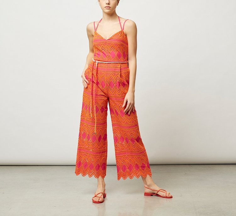 Jumpsuit with thin shoulder straps