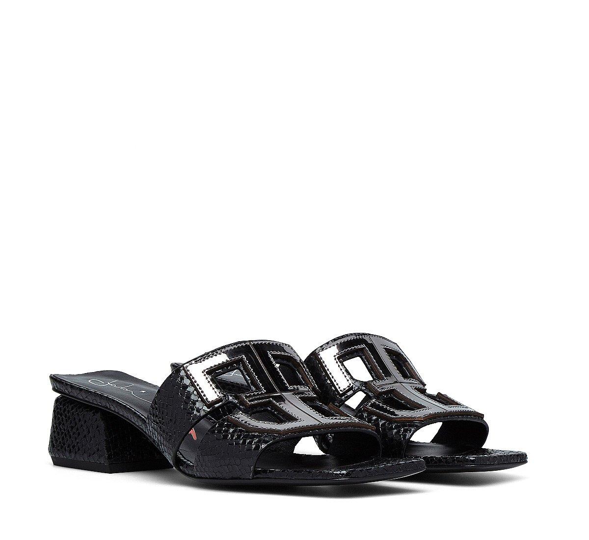 Sandals in reptile-print calfskin