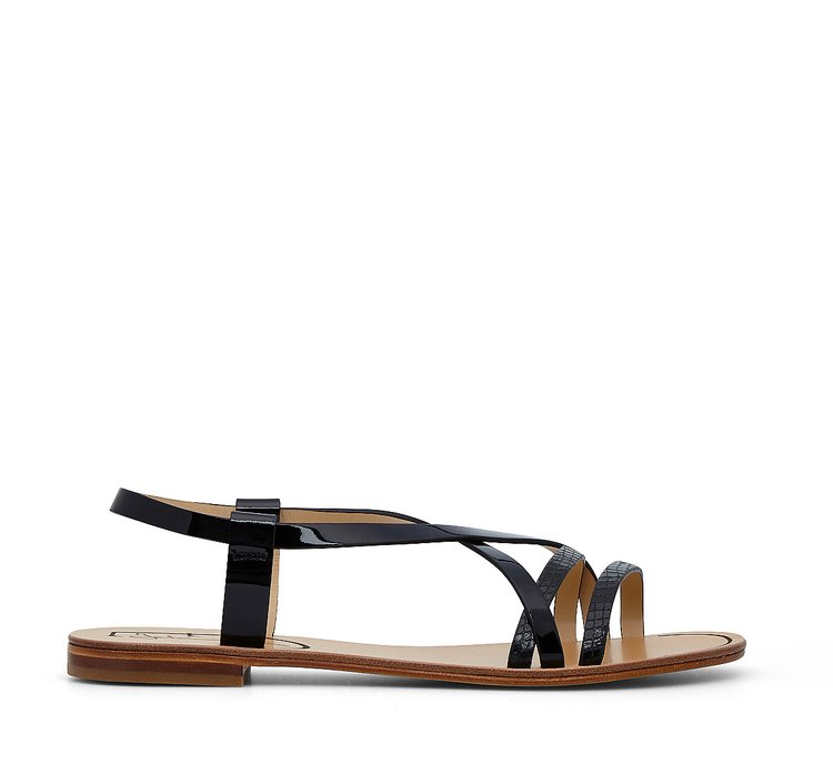 Sandals in shiny, reptile-print calfskin