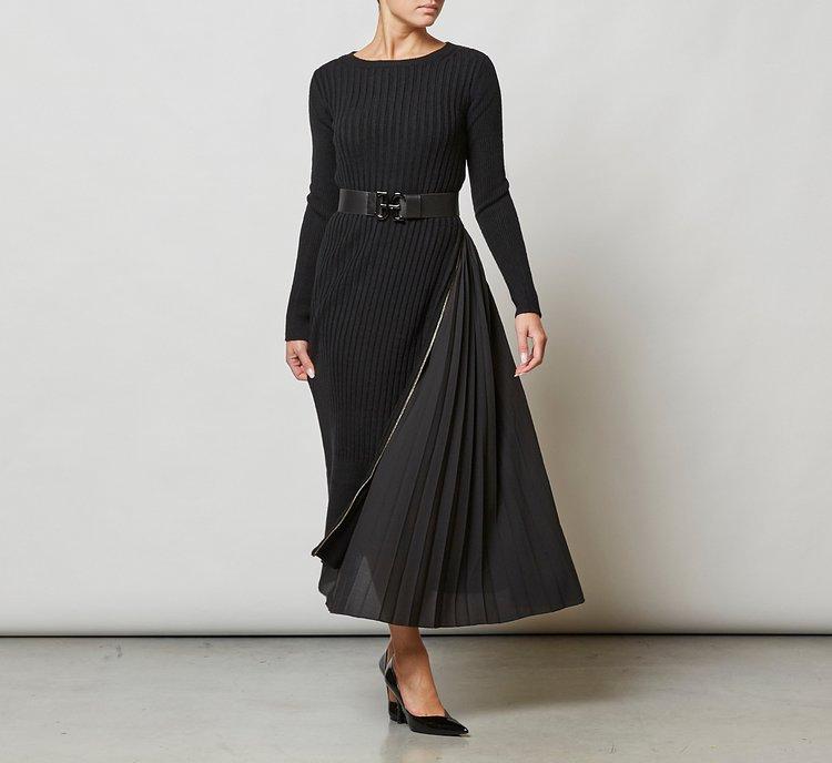 Vestito con zip laterale in lana
