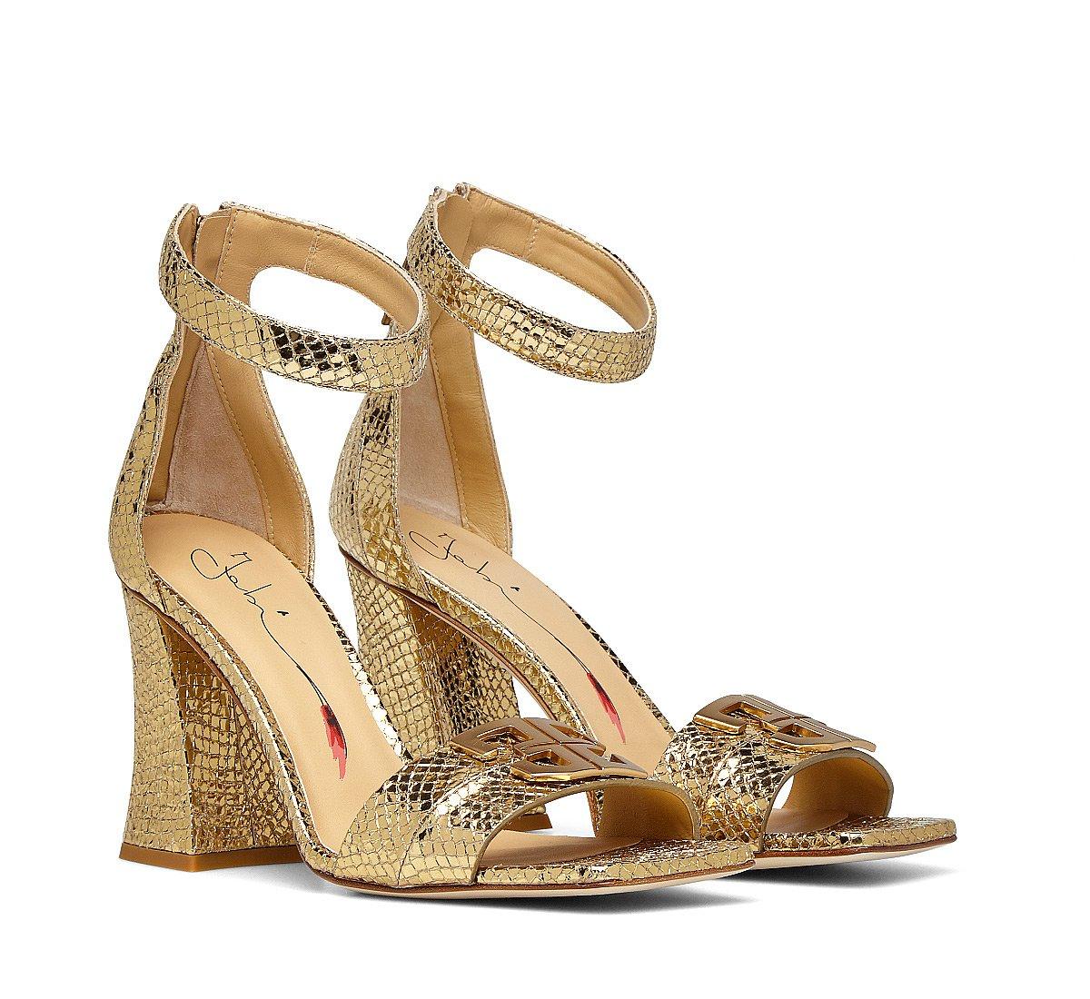 Laminated calfskin sandals