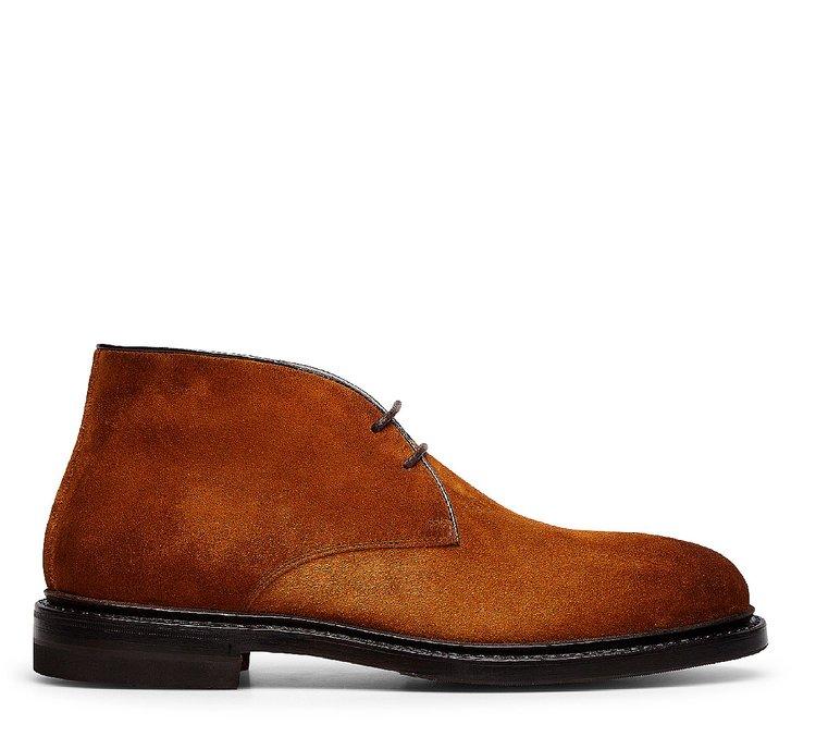 Ботинки-дезерты с двумя отверстиями для шнуровки из замши
