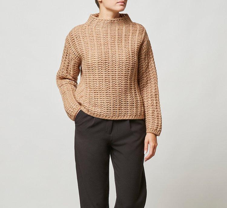 Cropped warm wool sweater