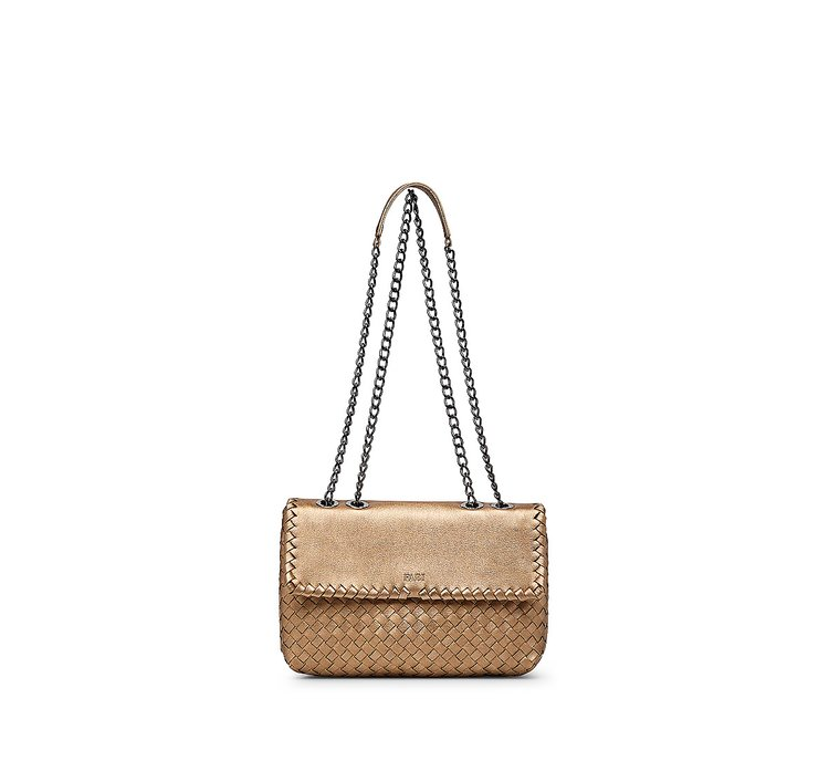Leather bag with woven detail