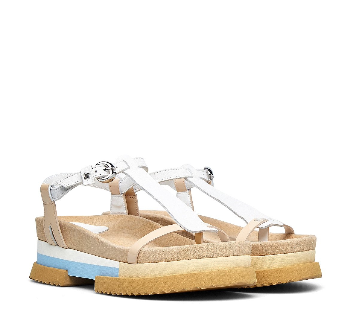 Suede and calfskin sandals