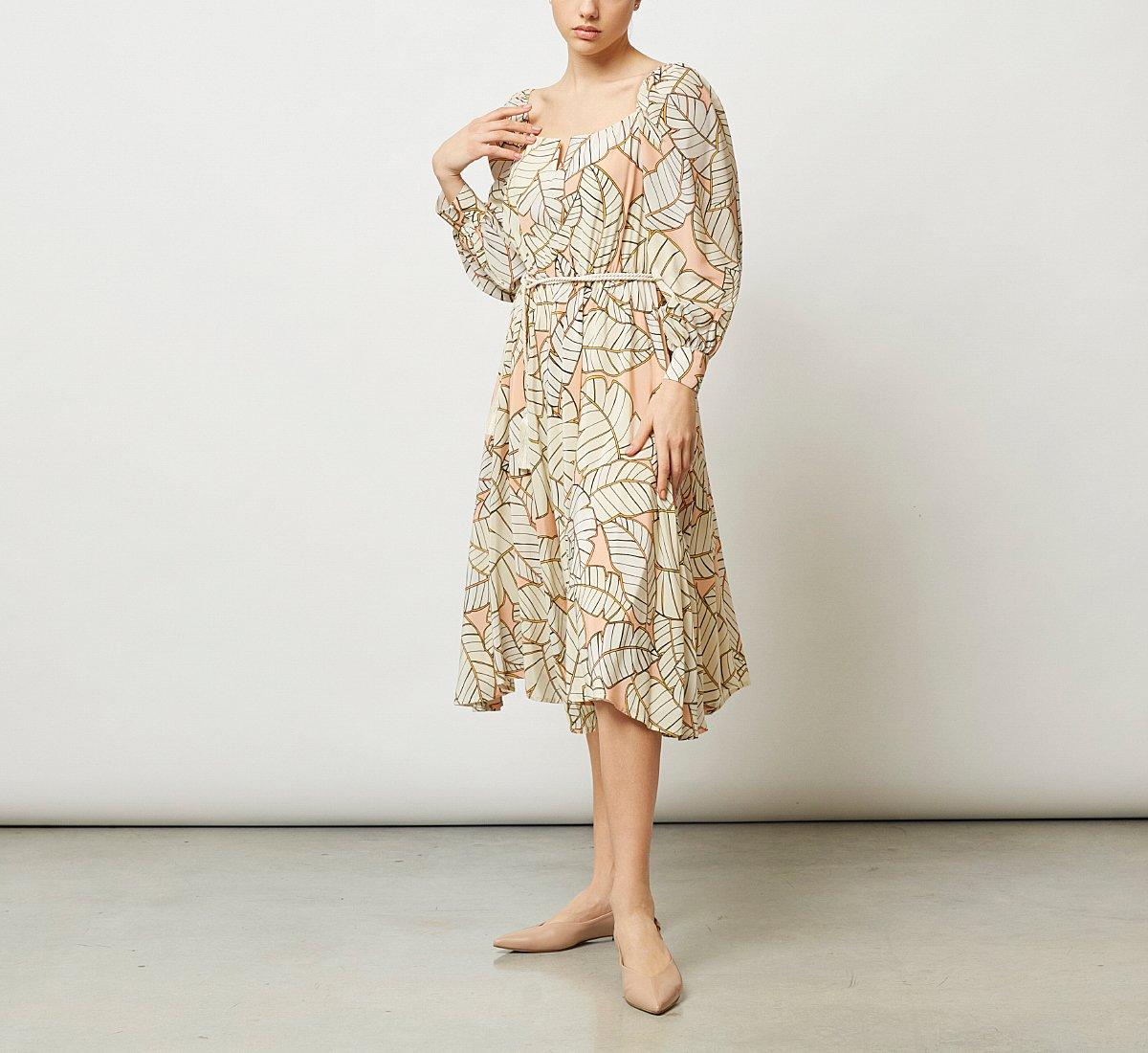 Knee-length fabric dress
