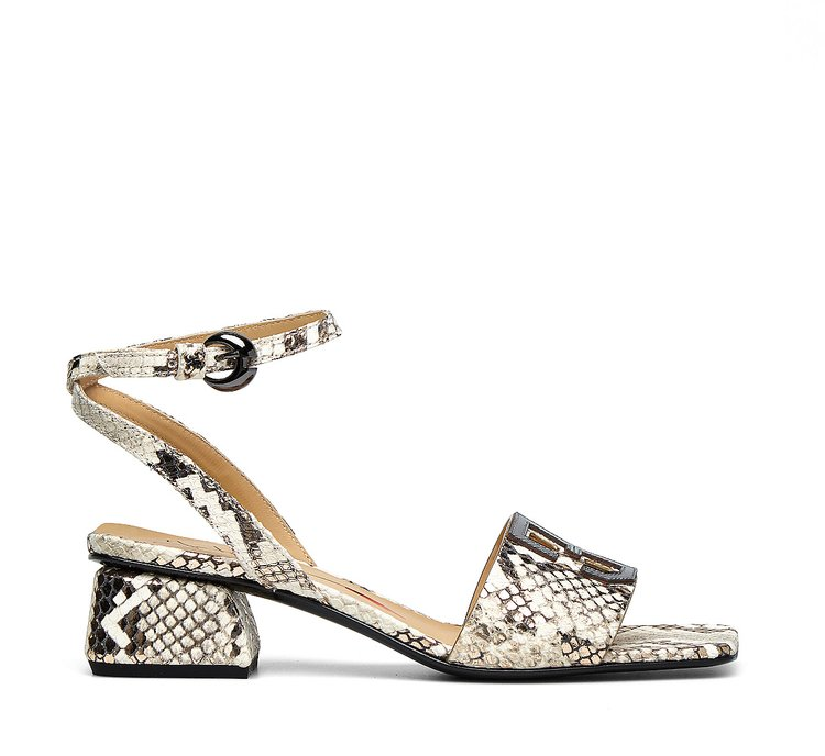 Calfskin sandals with reptile print