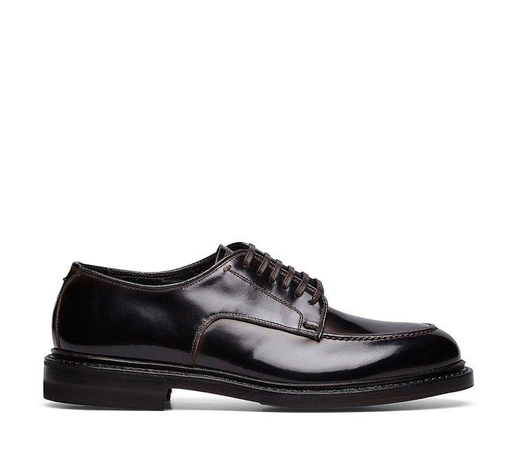 Туфли на шнуровке из глянцевой телячьей кожи