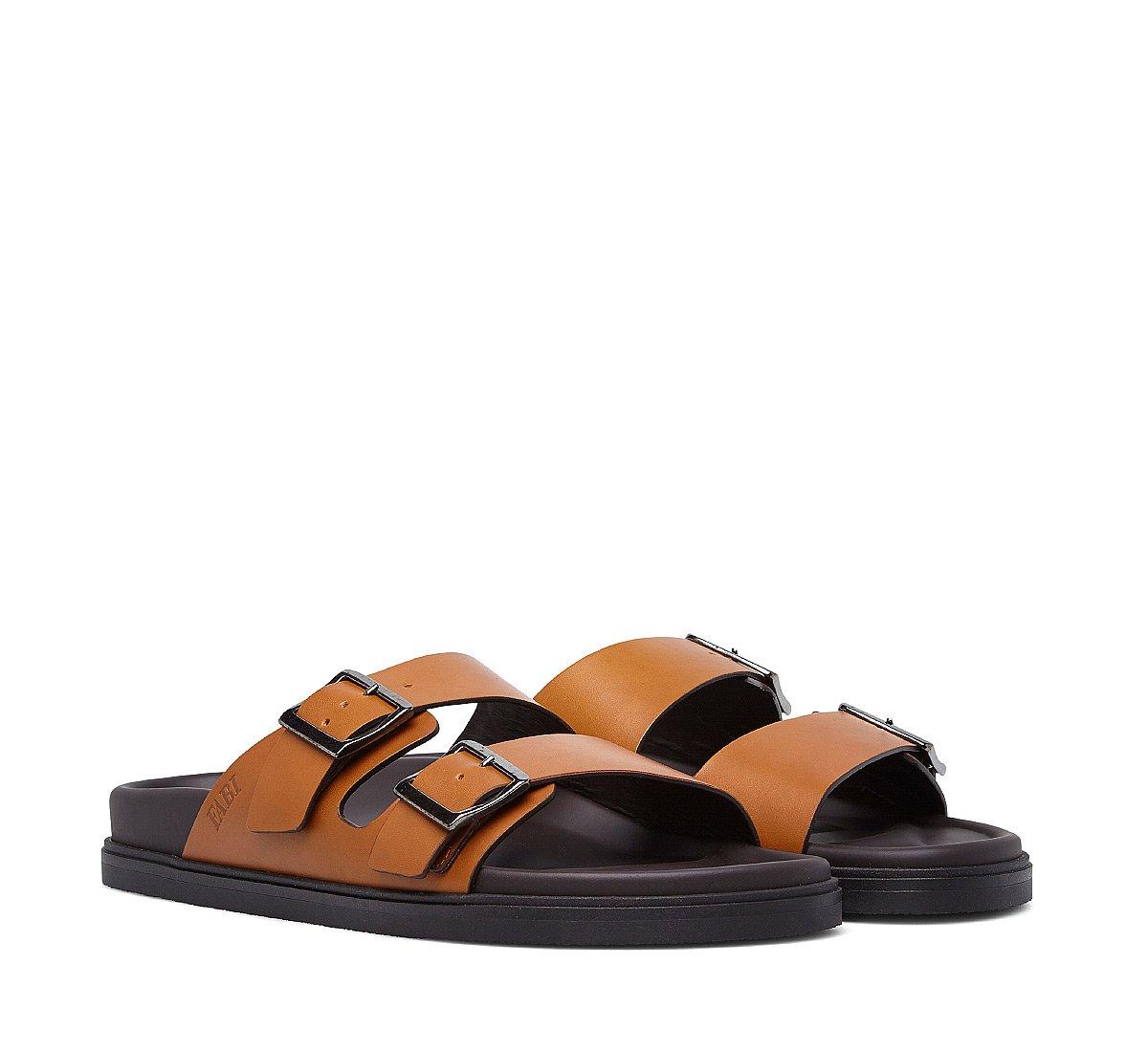 Soft calfskin sandal with double buckle