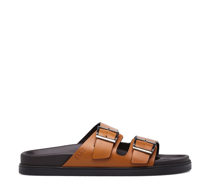 Soft calfskin sandal with double buckle