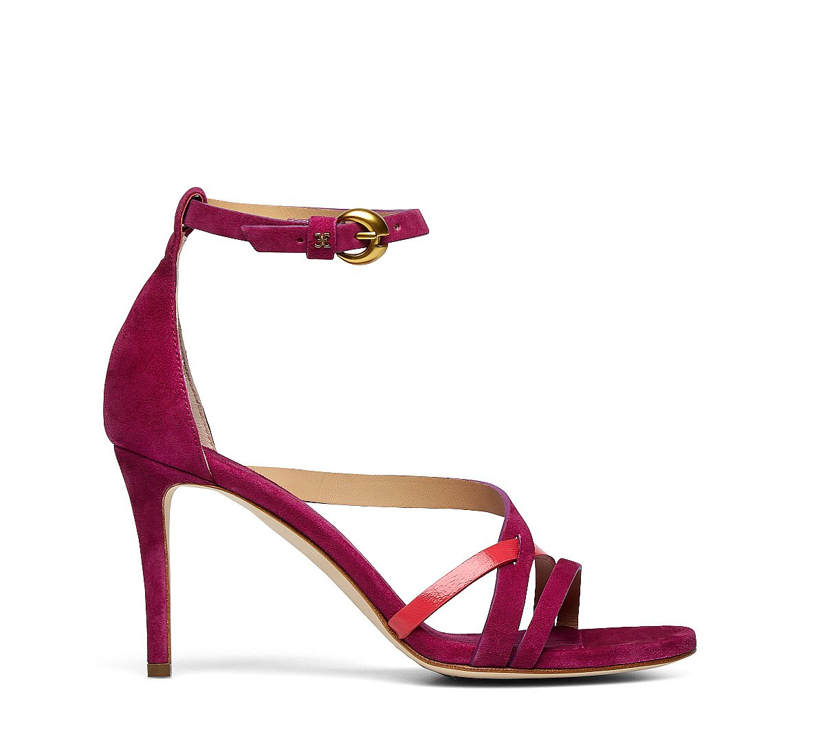 Shiny leather and suede sandals