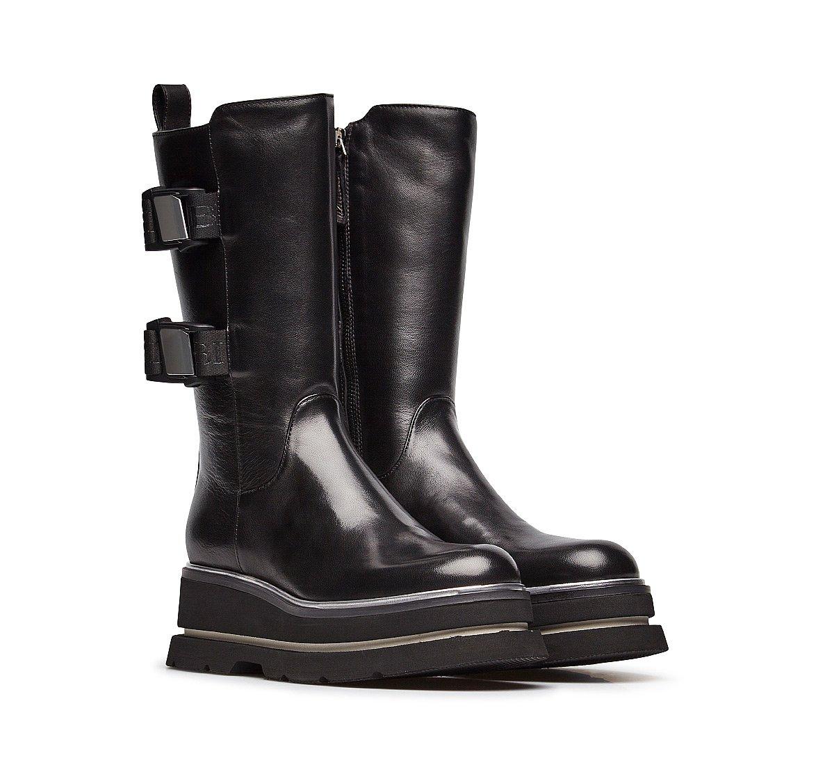 Fine nappa leather biker boots