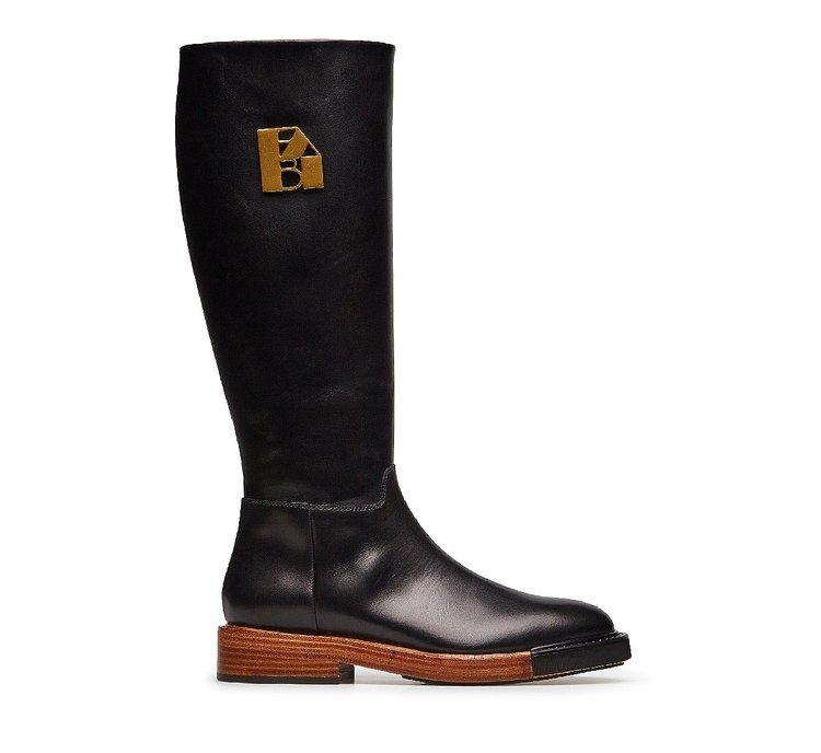 Fine calfskin high boots