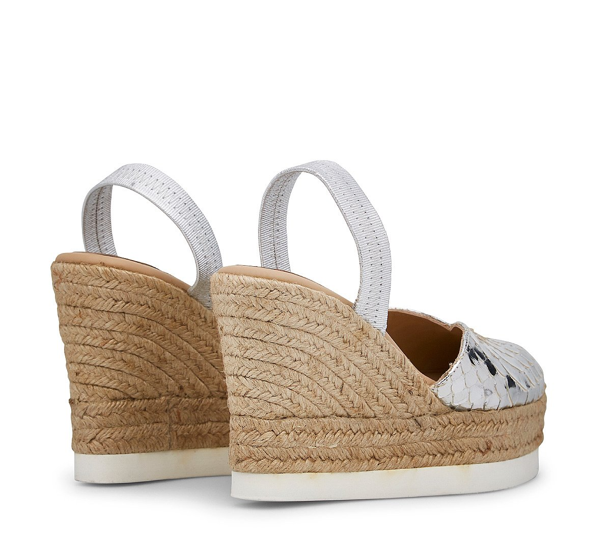 Calfskin sandals with python print