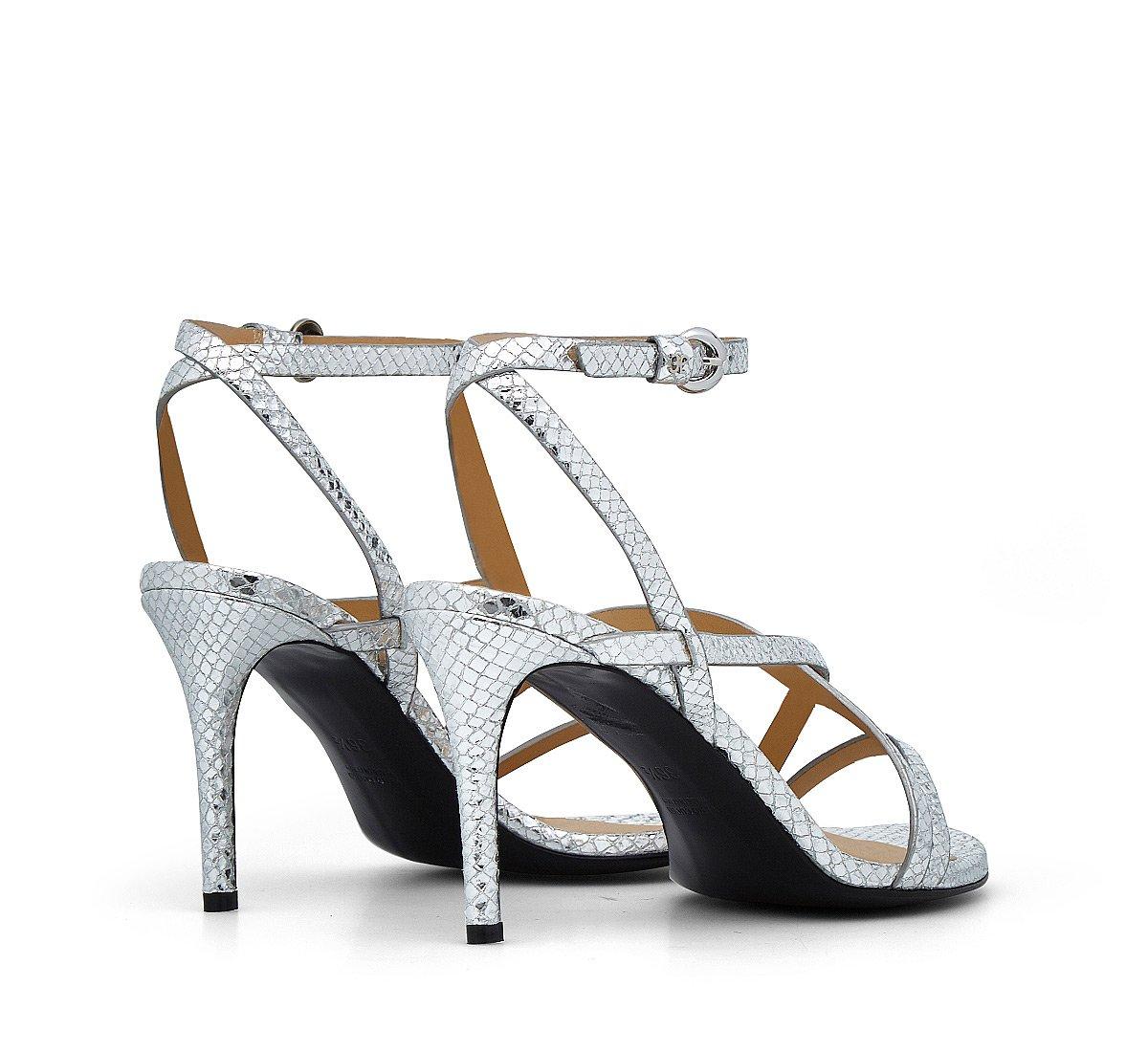 Sandalo in pelle stampa rettile