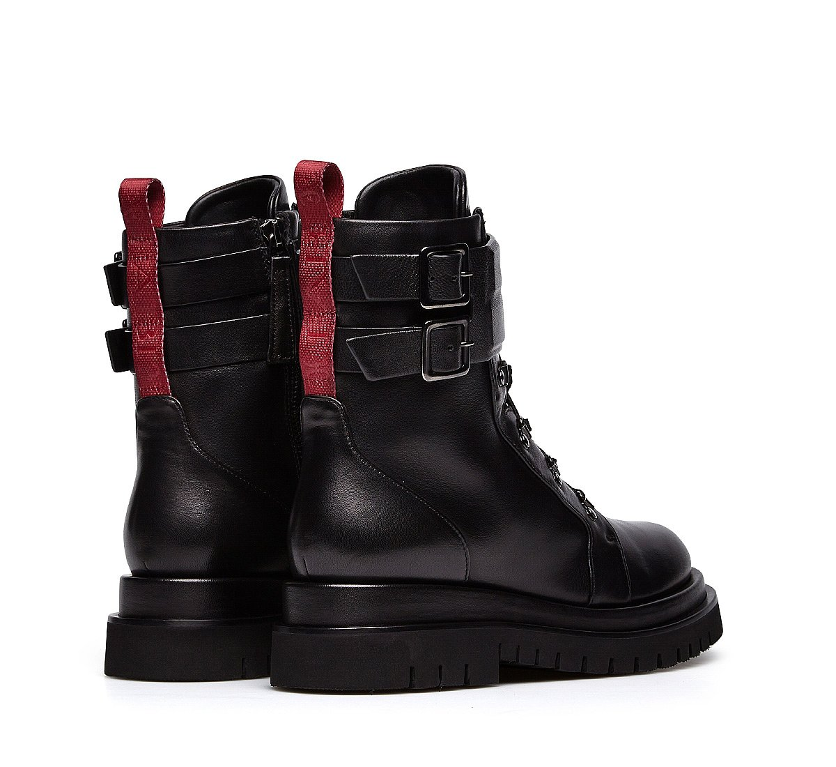 Military-style nappa combat boots
