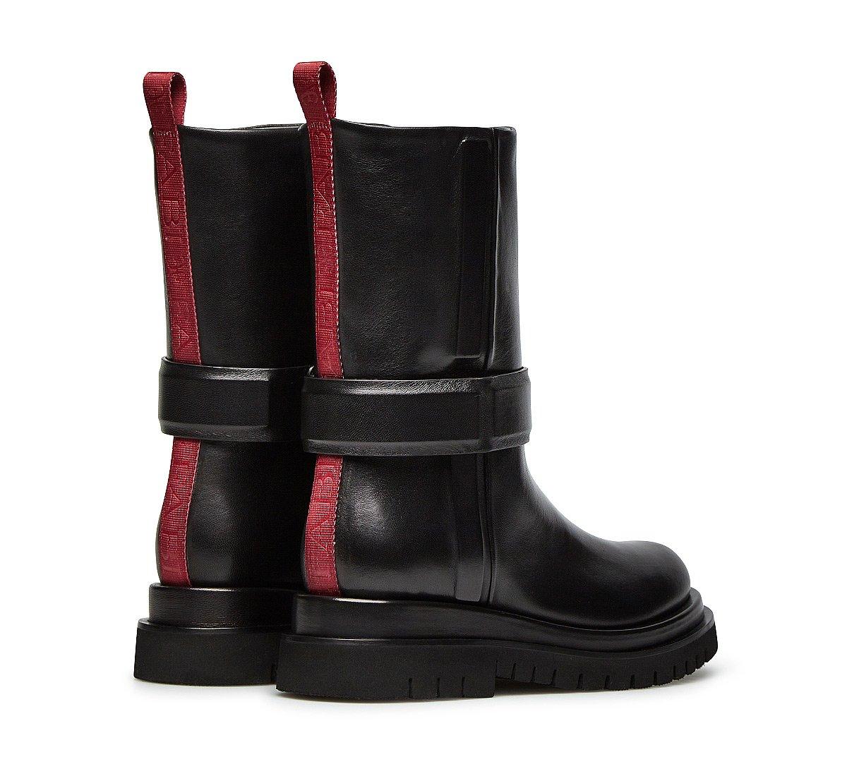 Soft nappa leather biker boots