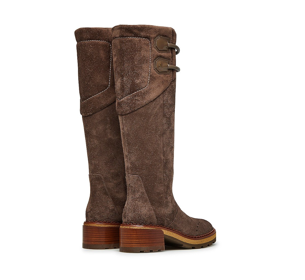 Fine suede high boots