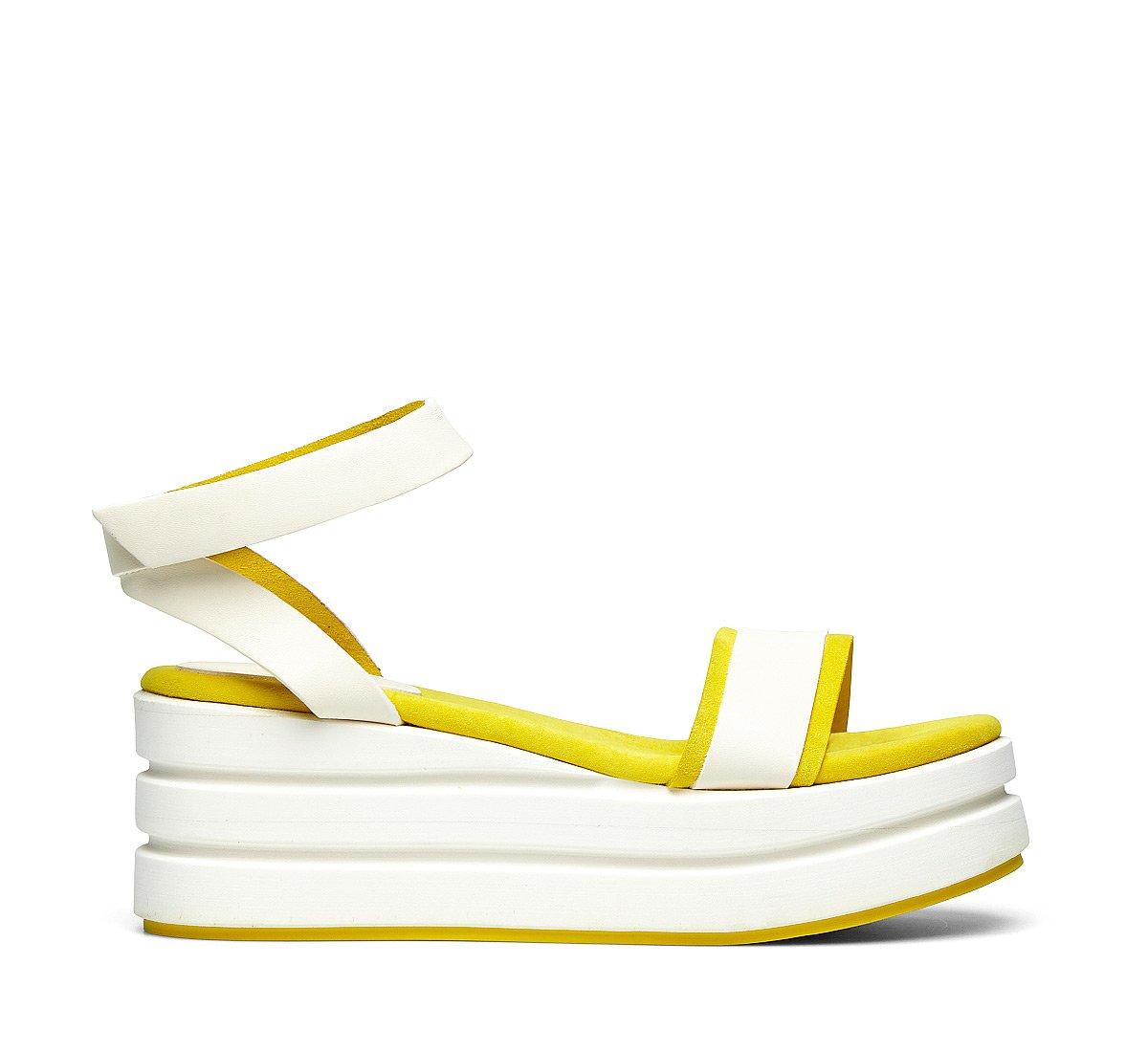 Calfskin and suede platform shoes