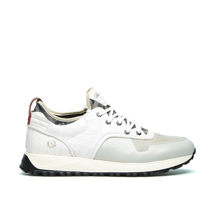 Barracuda sneaker in calfskin and fabric