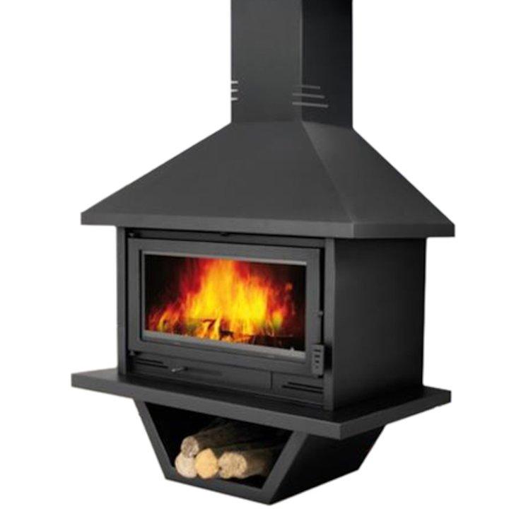 Bronpi Bolonia Mural Wood Fireplace - Black