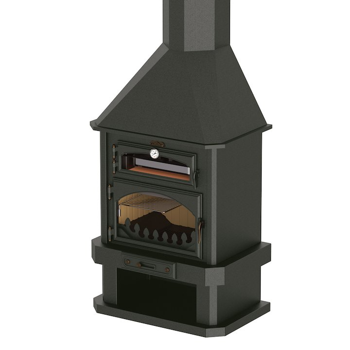 Bronpi Ebro Mural Wood Fireplace - With Oven - Black