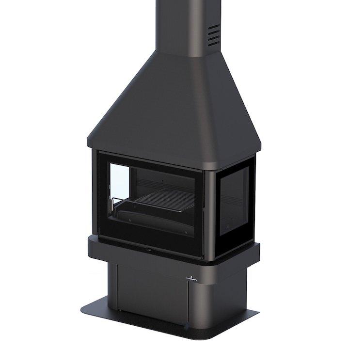 Bronpi Lisboa Mural Wood Fireplace Black Glass Side Glass Windows - Black Glass